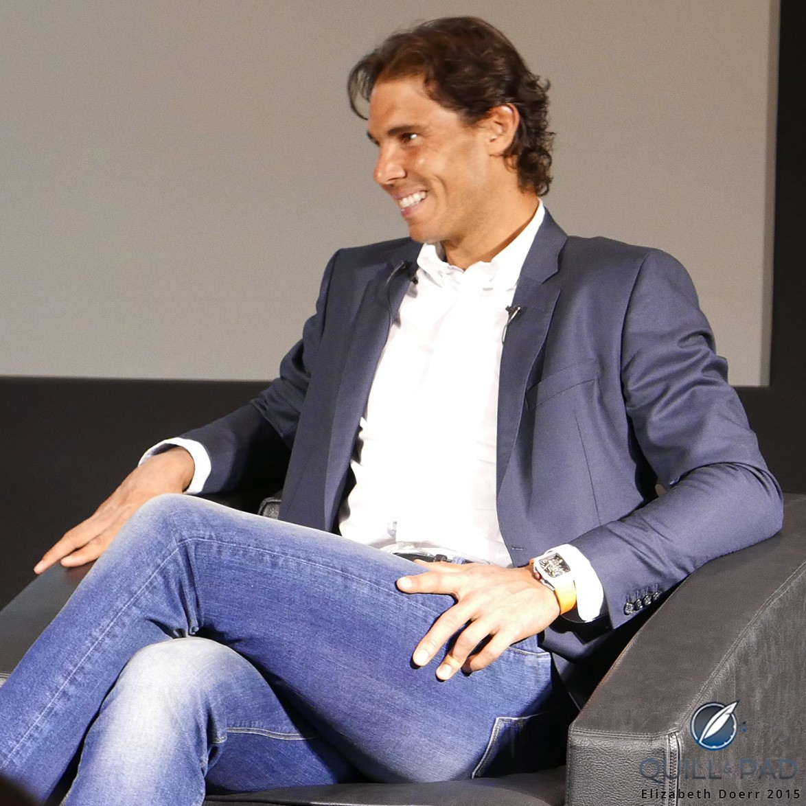 Rafael Nadal looking relaxed at the press conference announcing the Richard Mille RM 27-02