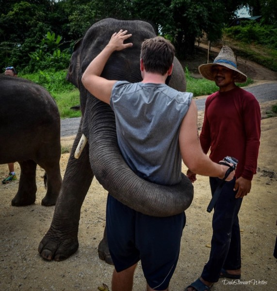 Hugging at the Elephant Retirement Park near Chiang Mai, Thailand