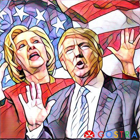 How hillary clinton and donald trump look together on prisma application