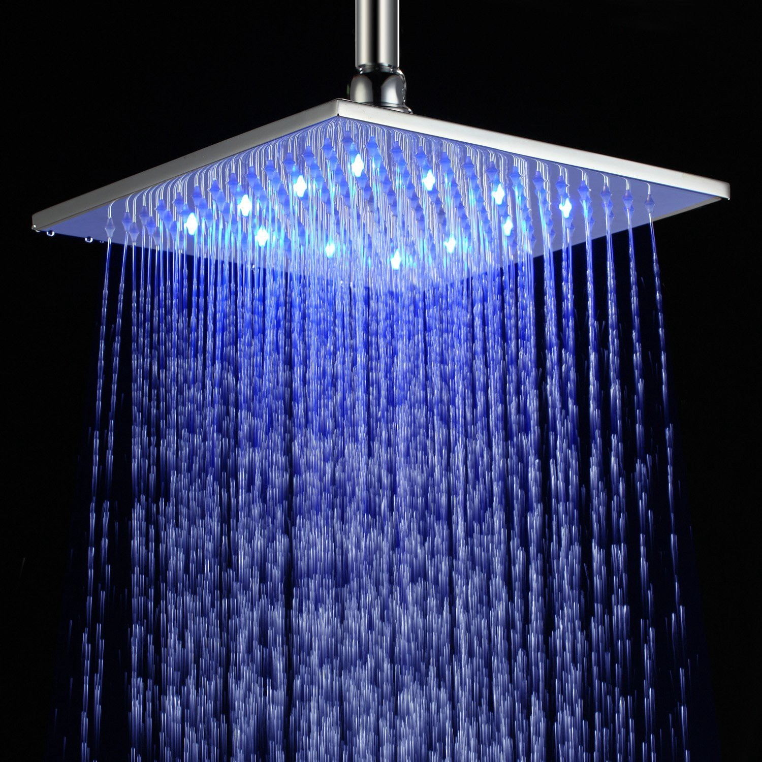 Best 10 Inch Square Brass Led With Light Rain Shower Head Polished