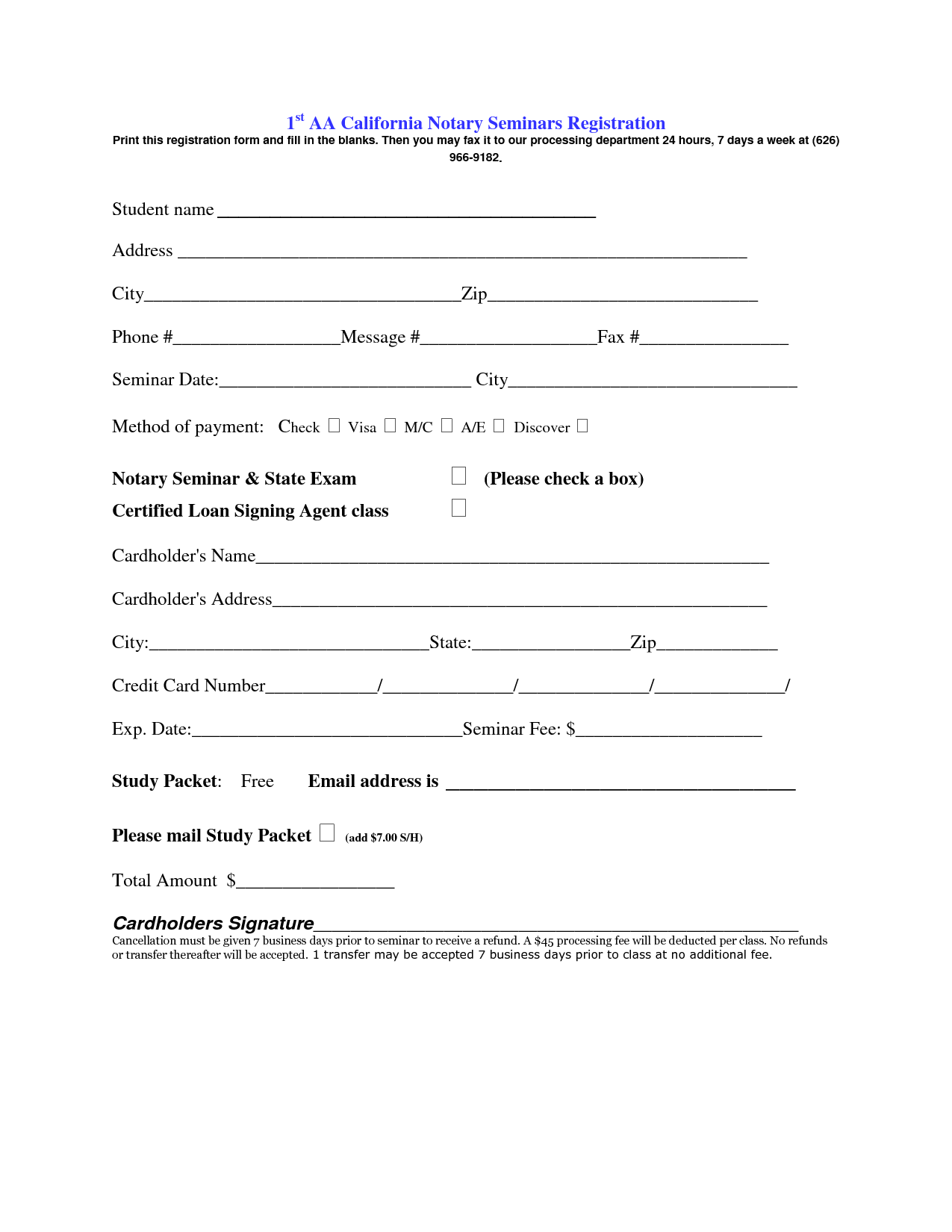 Online Registration Form Template