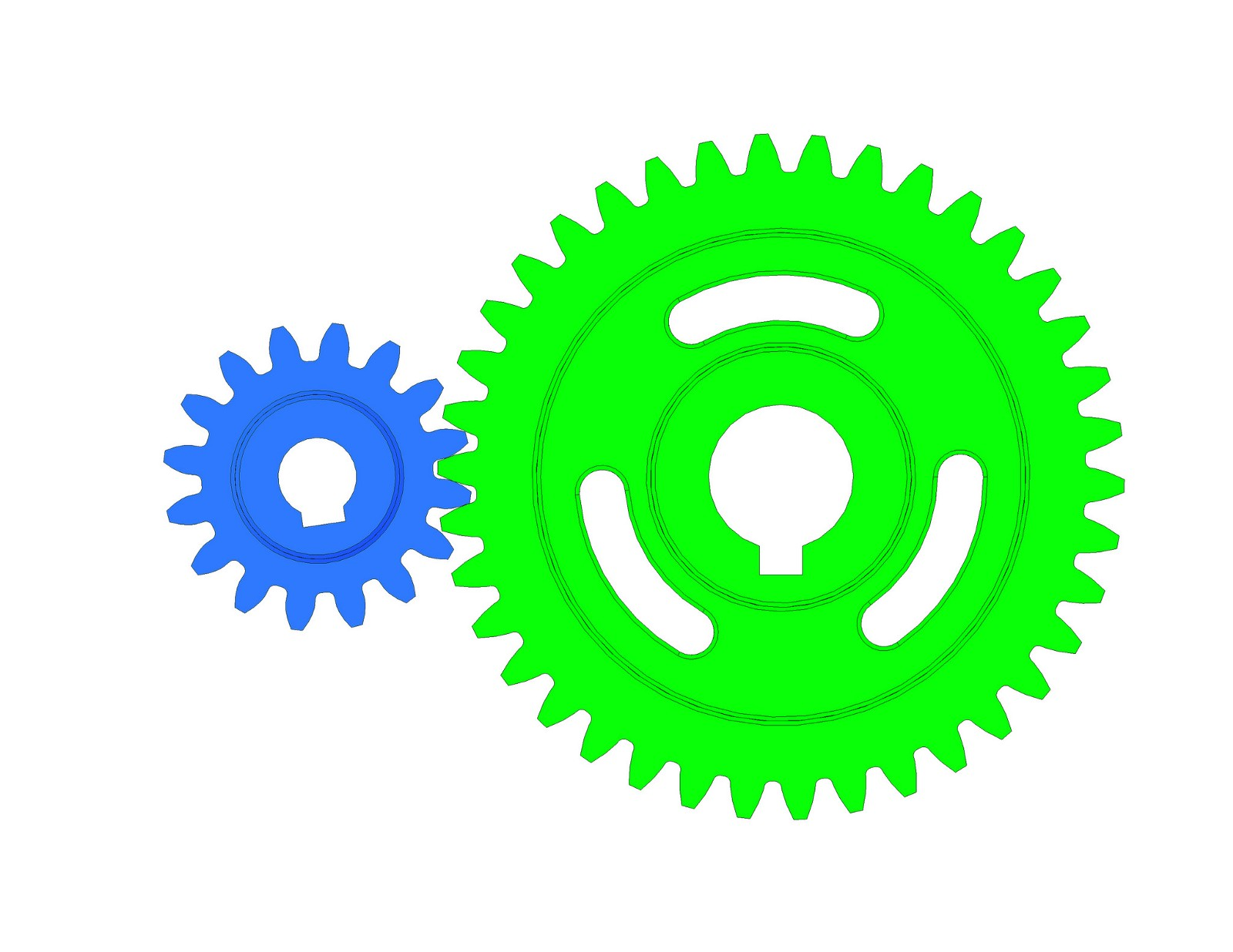16 tooth gear (blue) and 38 tooth gear (green). This gear ratio is 2:1