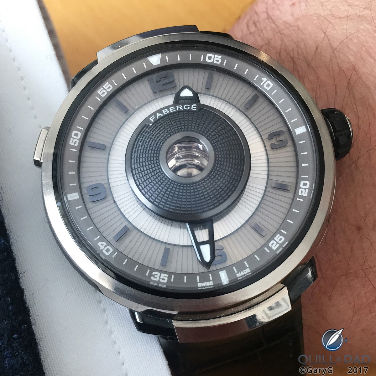 On the wrist: Fabergé Visionnaire DTZ with central indication of second time zone