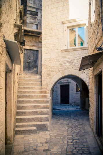 Up or Down? Alleys in the medieval town or Trogir, Croatia