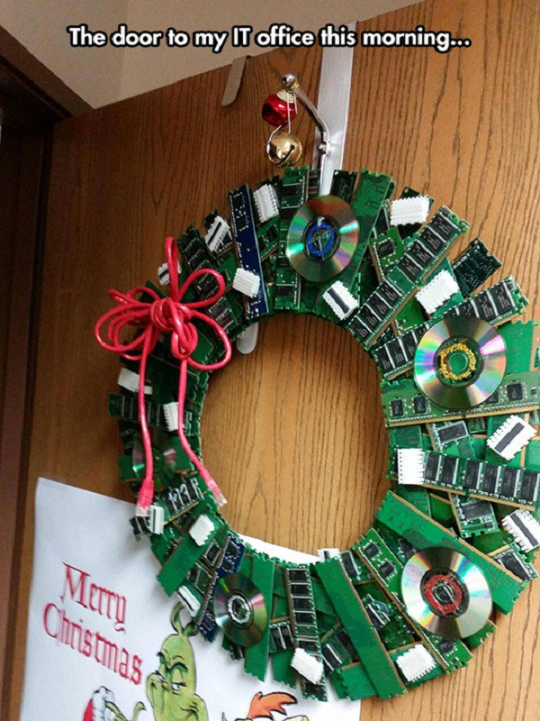 if it doesnt work after turning it off and on turn it into a wreath - Christmas Decorations For Work