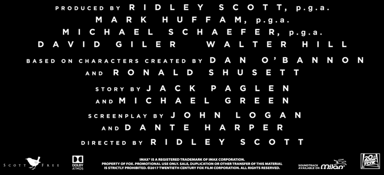 AlienCovenant Had Many Writers And Writing Teams To Credit On Its Poster