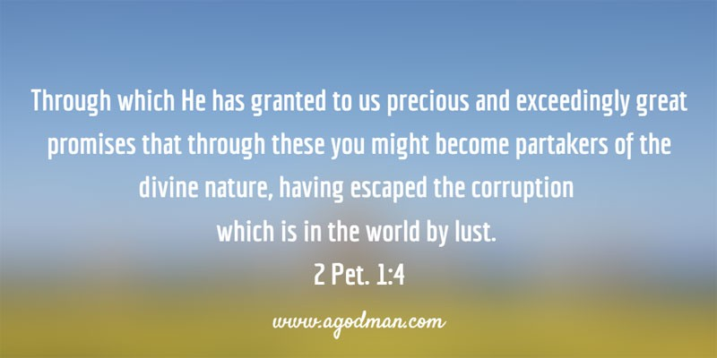 2 Pet. 1:4 Through which He has granted to us precious and exceedingly great promises that through these you might become partakers of the divine nature, having escaped the corruption which is in the world by lust.