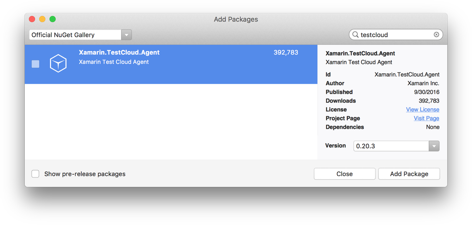 Adding the Xamarin Test Cloud Agent NuGet package