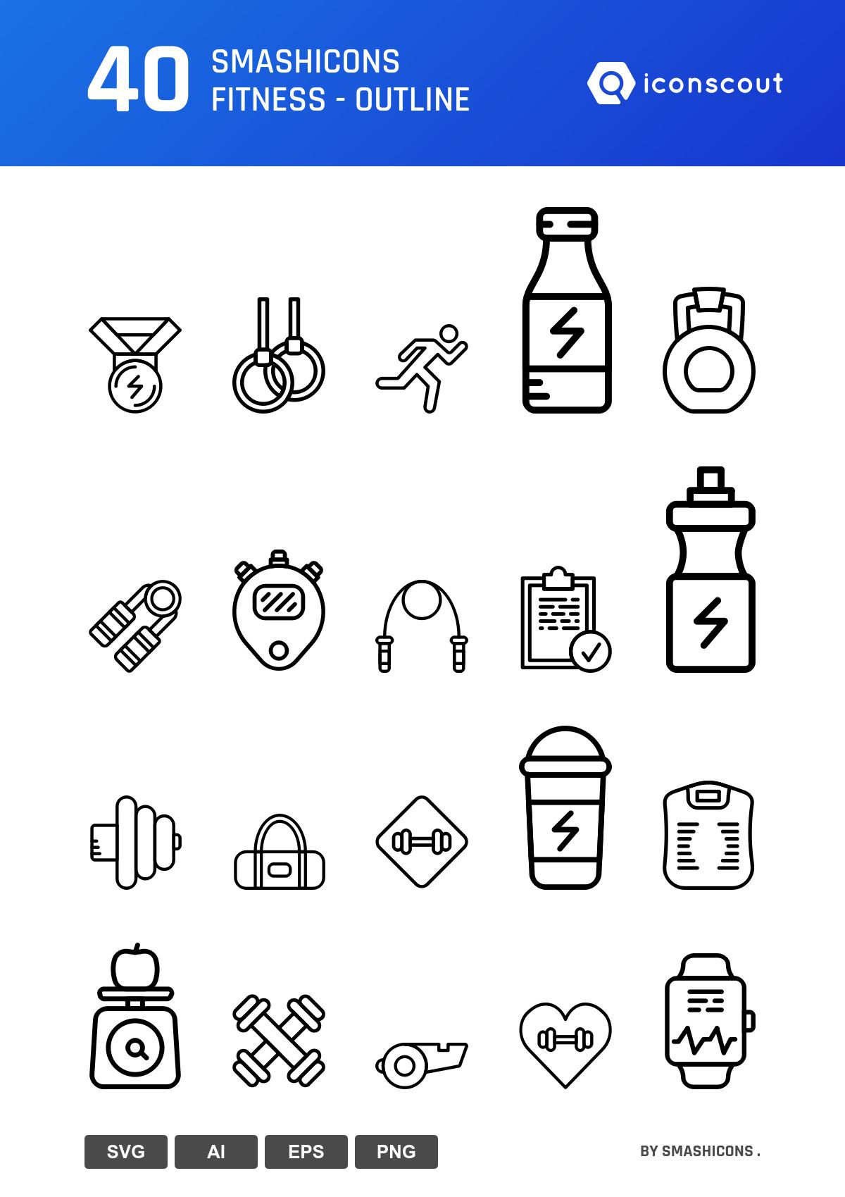 Smashicons Fitness - Outline icons by Smashicons .