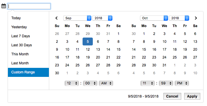 A picture of the FIleMaker date range picker.