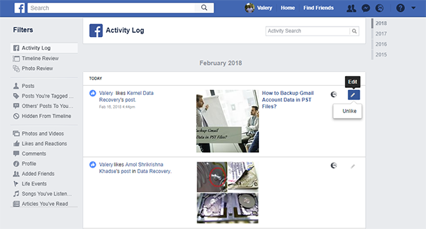 Facebook user activity activities and geodata search and messaging facebook search history can be removed one by one just as shown on the example of activity log or cleared all at once by clicking on clear searches ccuart Images