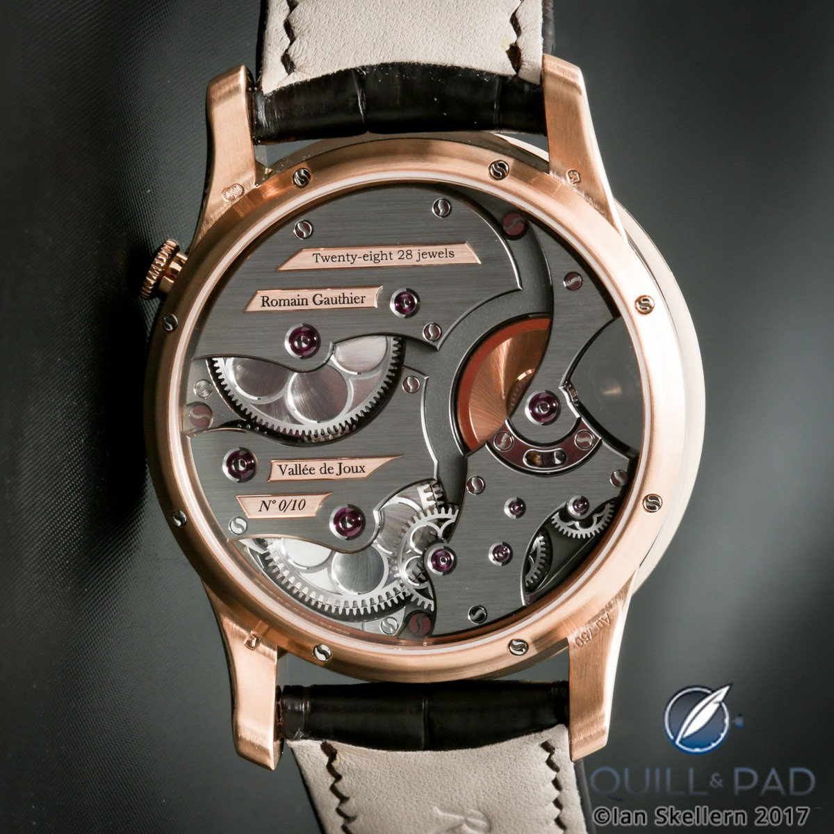 View through the display back of the Romain Gauthier Insight Micro-Rotor in red gold