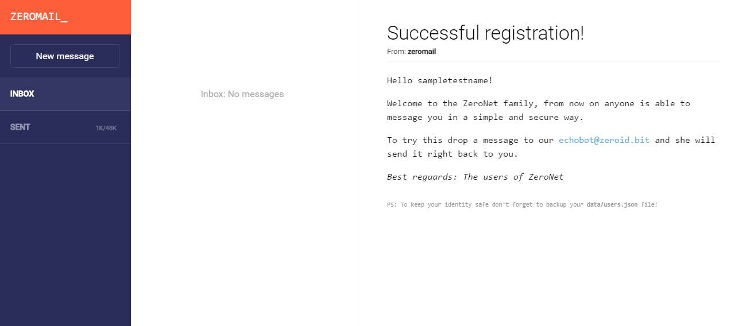 a screenshot of what ZeroMail interface looks like
