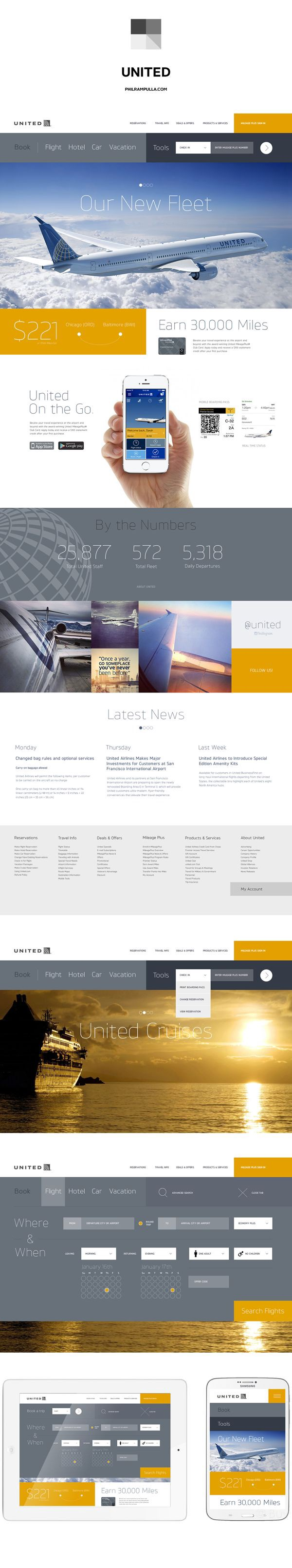 super popular 83bbe 8b26b United Airlines Website Redesign by Phil Rampulla