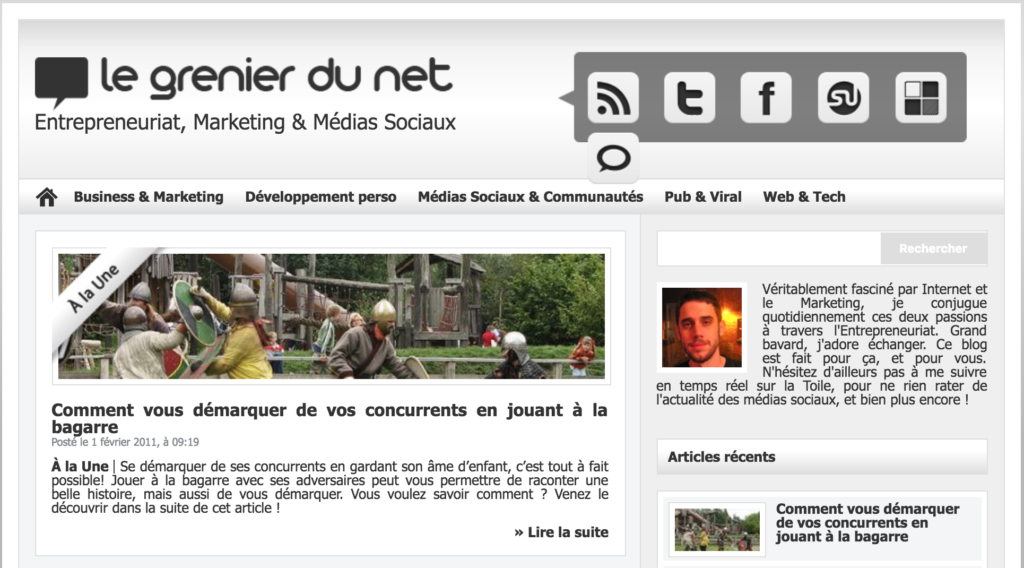 Front page of my French blog (now closed) - taken from Wayback Machine.