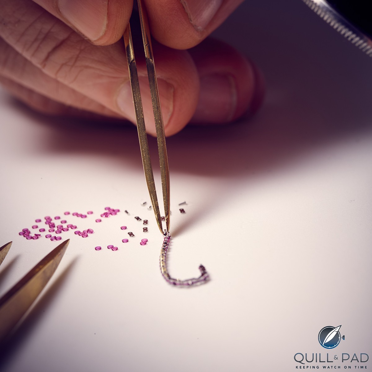 Assembling a patented ruby link constant force chain of Romain Gauthier's Logical One