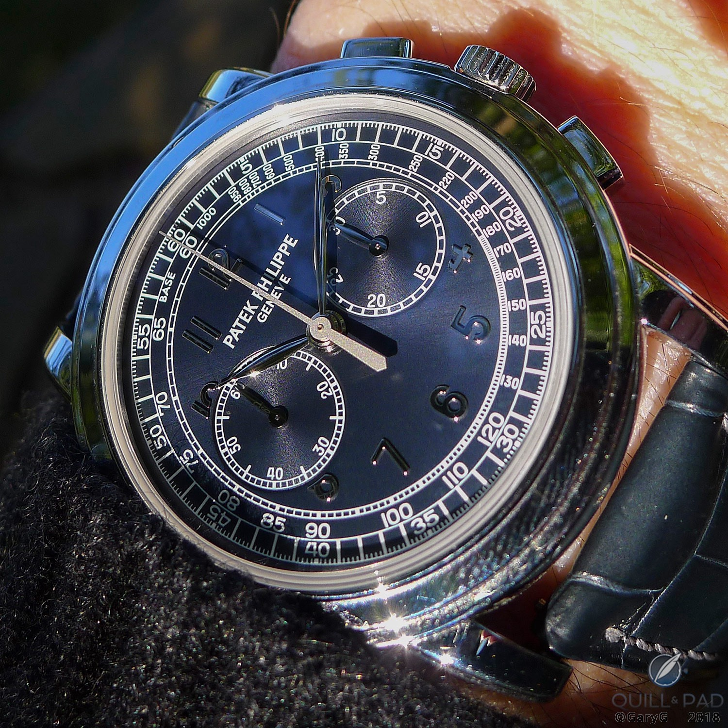 Ignore that fingerprint: Patek Philippe Reference 5070P-001 on the wrist