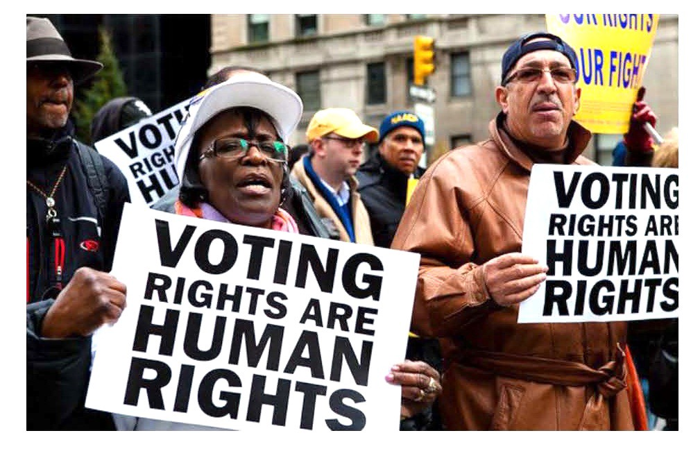 """People carrying signs saying """"Voing Rights are Human Rights"""""""