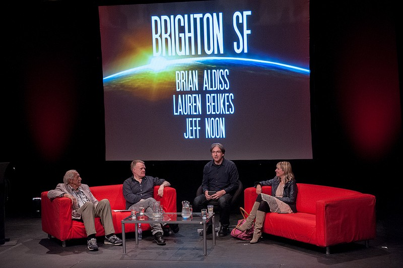Brian Aldiss, Jeff Noon, and Lauren Beukes on the Brighton SF panel, chaired by Jeremy Keith