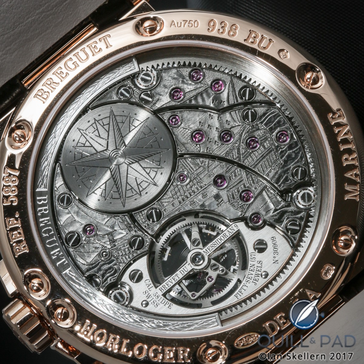 View through the display back to the engraved movement of theBreguet Marine Équation Marchante Ref. 5887