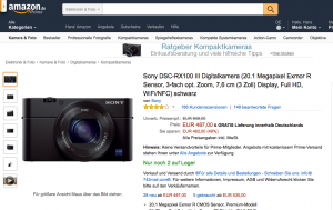 Sony Kamera bei Amazon
