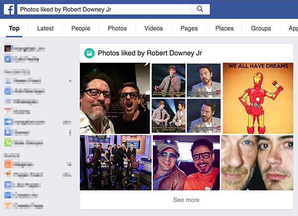 How to look at photos liked by someone on facebook
