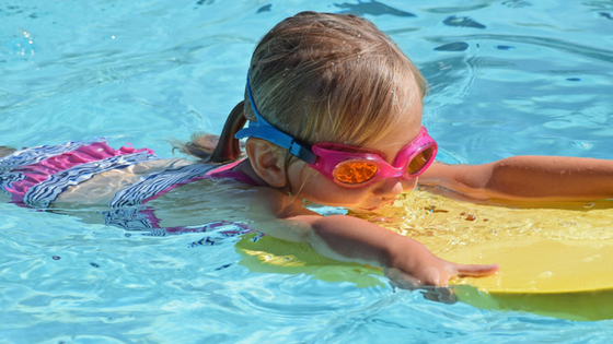 Flotation device to help child afraid of water