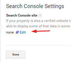 Edit Search Console settings in Google Analytics