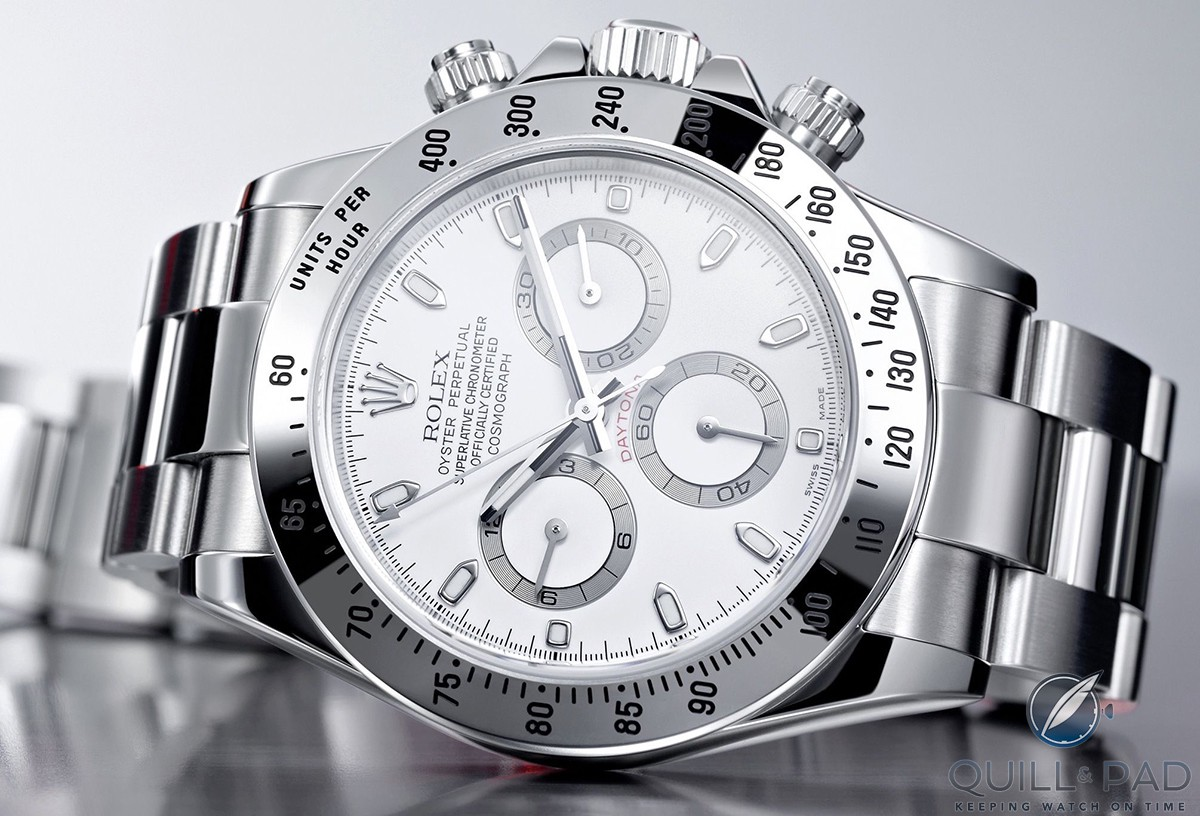 Rolex Daytona in stainless steel with white dial