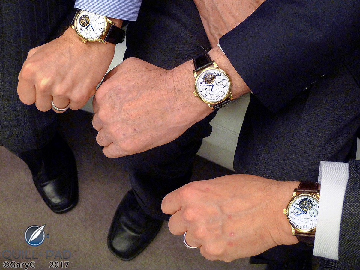 Group A. Lange & Söhne Pour le Mérite Tourbillon wristshot with Walter Lange at center, 2013