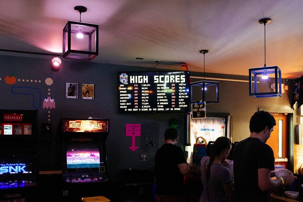 Cool Atari themed brew pub in East Hampton, Massachusetts that serves bowls of fruit loops.