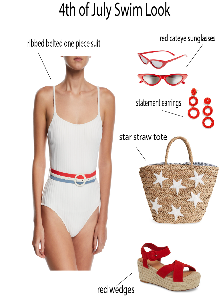 Trendy 4th of July Swimwear featured by popular Orange County fashion blogger, Dress Me Blonde