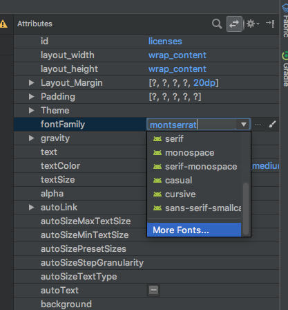 Selecting fonts in the Layout Editor