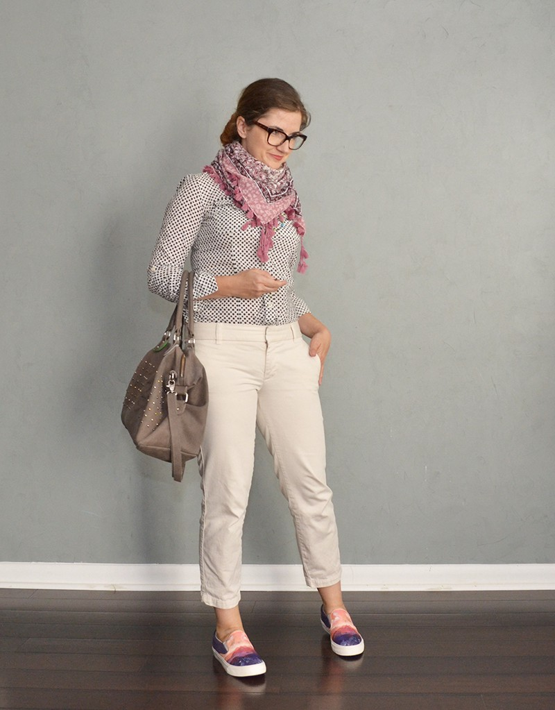 ivory pants and print shirt outfit