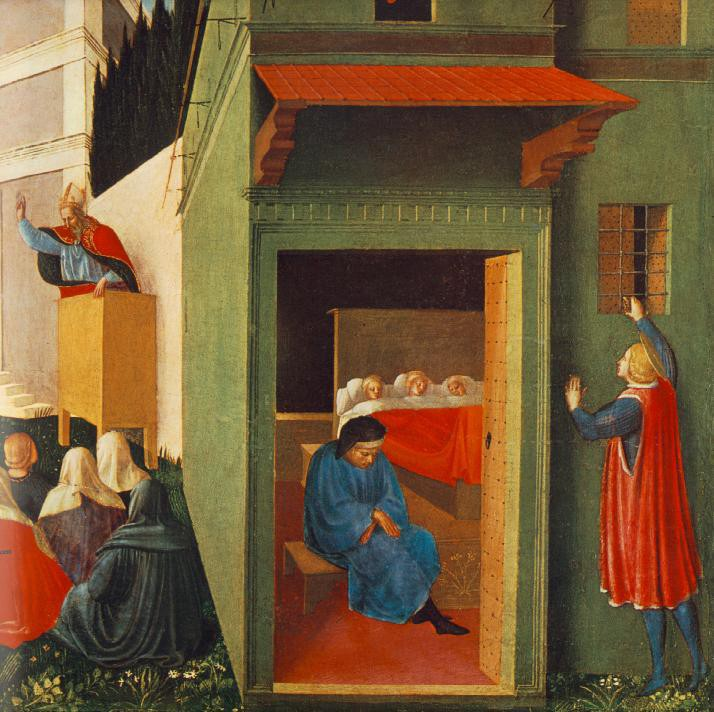 Fra Angelico, The Story of St. Nicholas: Giving Dowry to Three Poor Girls, 1447-48, tempera and gold on panel, Pinacoteca Vaticana