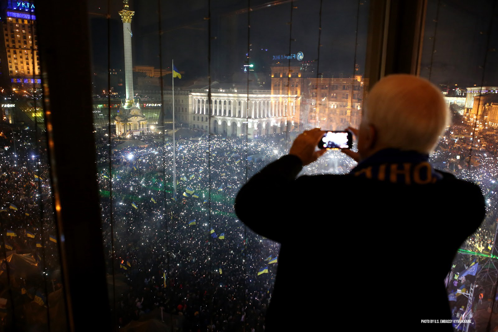 Late Senator John McCain watches the Euromaidan protests in Kyiv, Ukraine, December 2013.