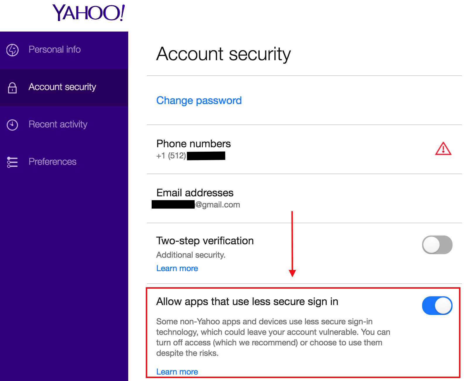 Yahoo email security settings