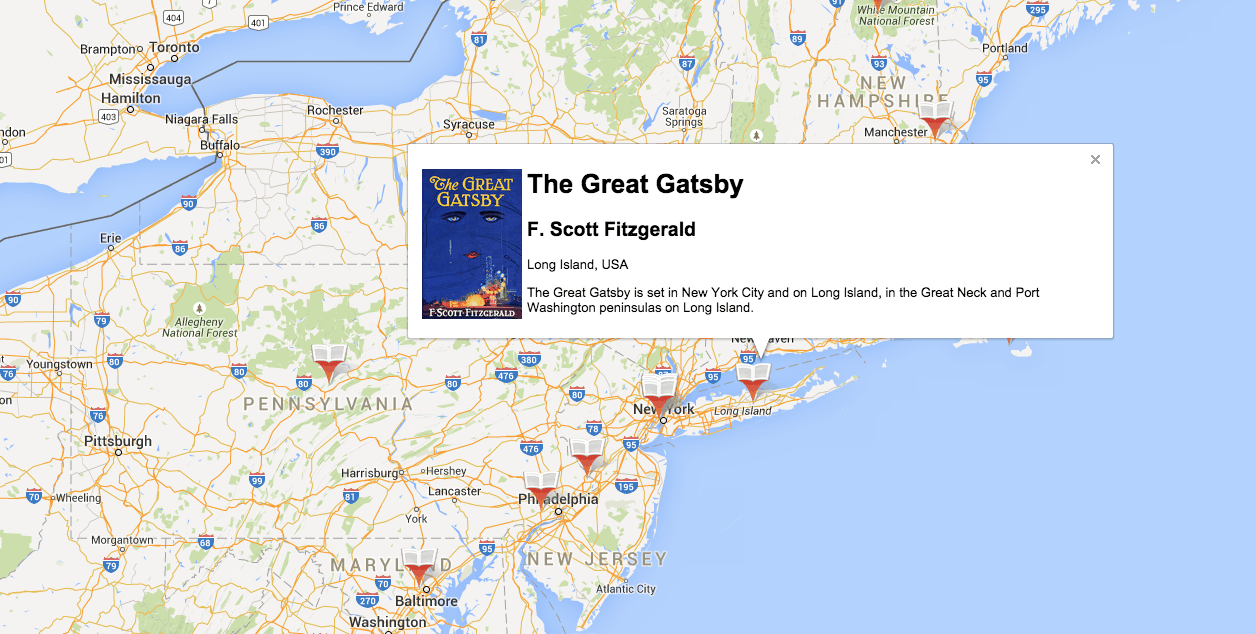 A google map of all your favorite books electric literature a google map of all your favorite books gumiabroncs Choice Image