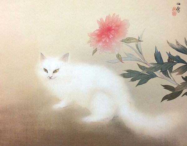 White Cat with Red Peony by Kansetsu