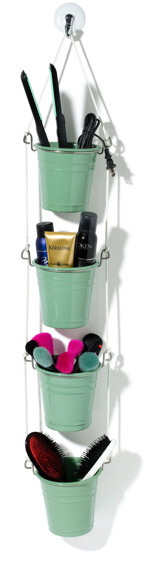 organize makeup with hanging bucket