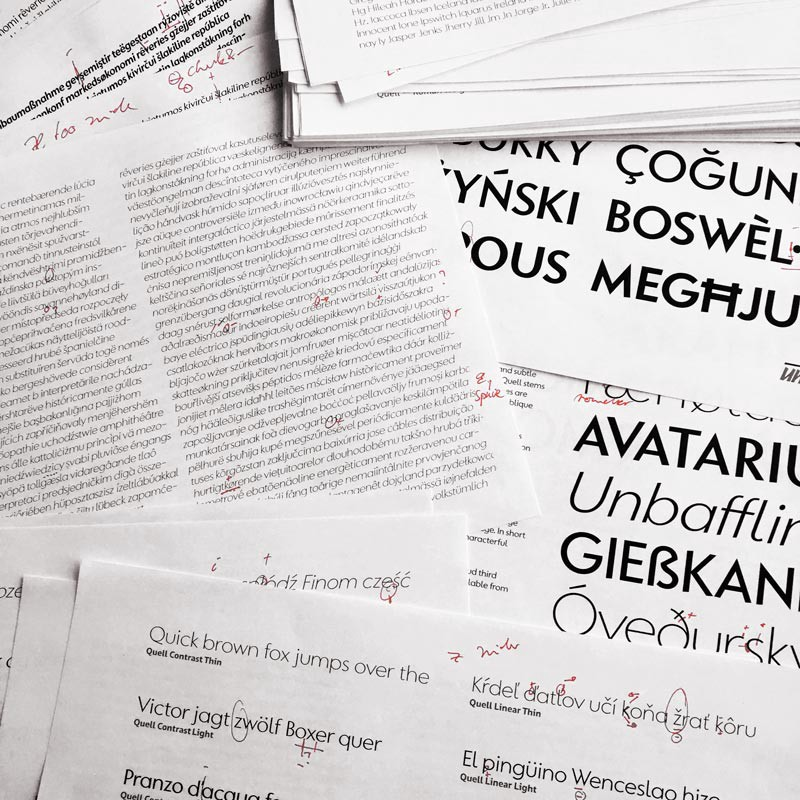 Reviewing various aspects of a typeface in progress