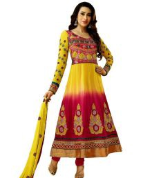 7Rainbow Yellow Georgette Karishma Kapoor Special Limited Edition Dress Material