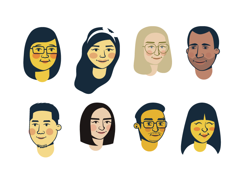 Friendly Caricatures Avatar icons by Olivia Truong