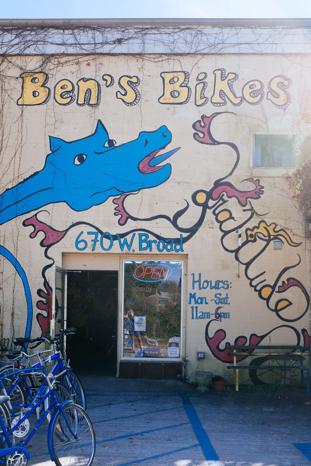 Another cool hipster bike shop in Athens, Georgia. Still no sight of Michael Stipe, though.