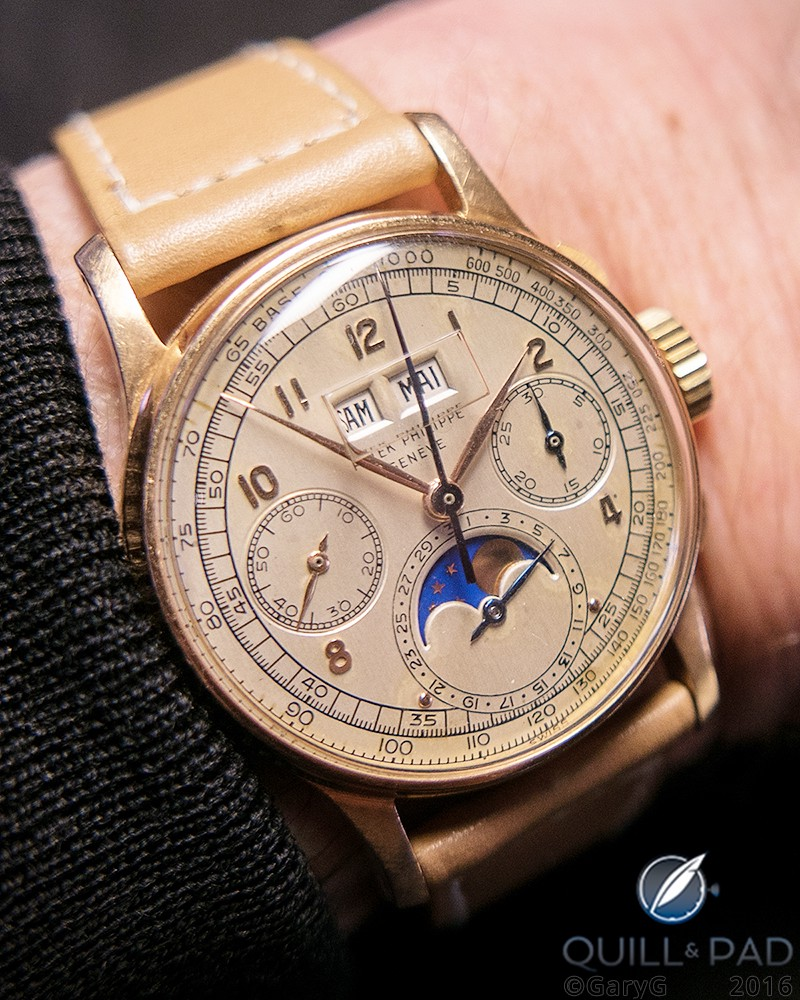 One of the top watches of recent auctions: Patek Philippe Reference 1518 in pink gold on the author's wrist