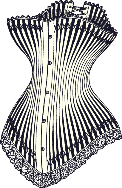 Drawing of a luxury hourglass corset from 1878 (Credit: Wikimedia Commons)
