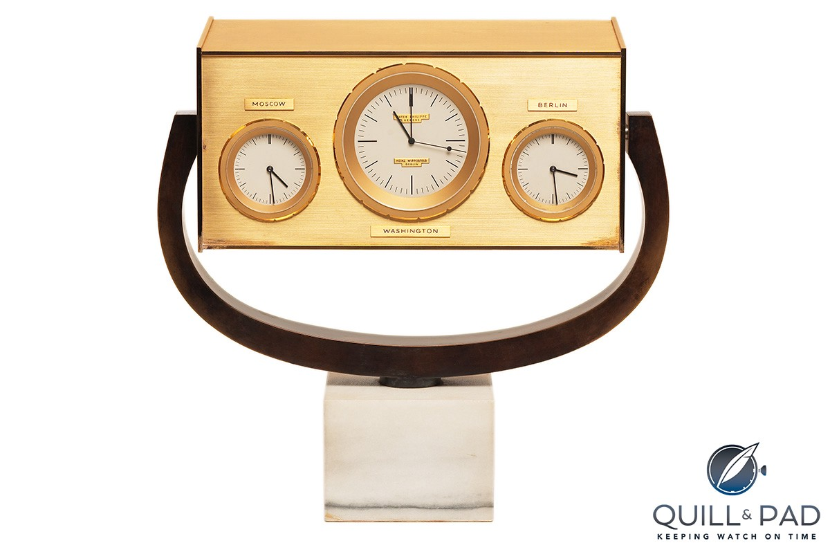 "John F. Kennedy clock by Patek Philippe symbolizes the famous ""Hotline"" communication system set up between the U.S.A. and the then Soviet Union"