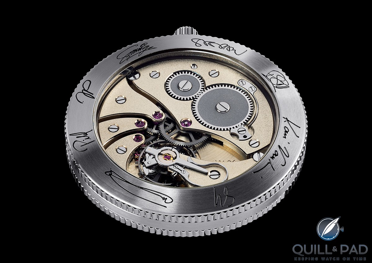 View through the display back to the hand finished movement of the WOSTEP School Watch for Only Watch 2017