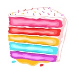illustration of a five-layer cake with different color layers, covered with white icing and sprinkles. Not my thing, but to each their own.