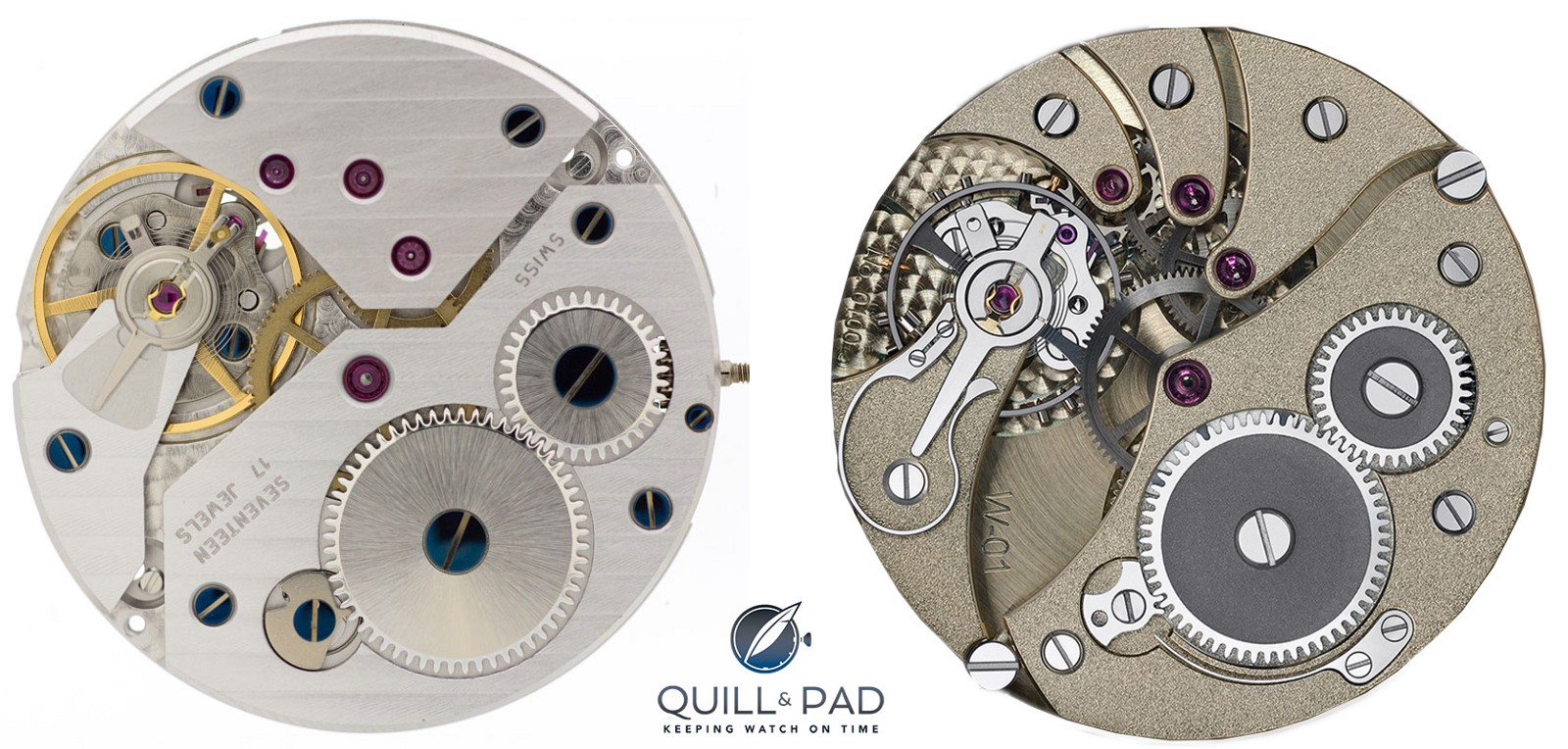 Standard Unitas 6498 movement left compared with the modified and hand finished WOSTEP Only Watch movement